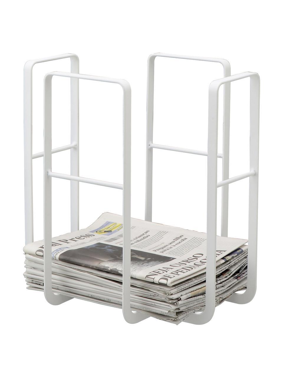 Zeitschriftenhalter Tower, Stahl, lackiert, Weiß, 35 x 35 cm