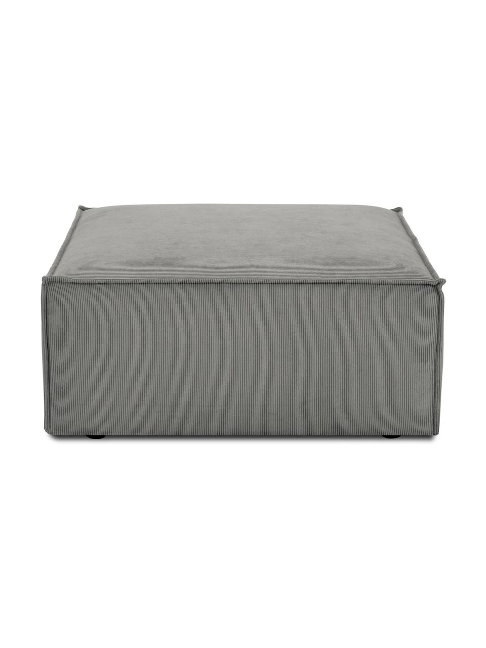Sofa-Hocker Lennon in Grau aus Cord, Bezug: Cord (92% Polyester, 8% P, Gestell: Massives Kiefernholz, Spe, Füße: Kunststoff Die Füße befin, Cord Grau, 88 x 43 cm