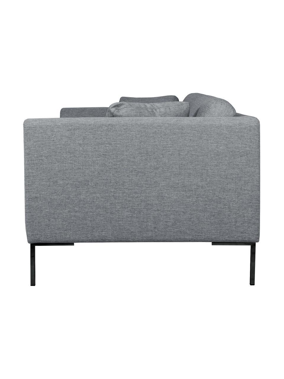 Sofa Emma (3-Sitzer) in Grau mit Metall-Füßen, Bezug: Polyester 100.000 Scheuer, Gestell: Massives Kiefernholz, Füße: Metall, pulverbeschichtet, Webstoff Grau, Füße Schwarz, B 227 x T 100 cm