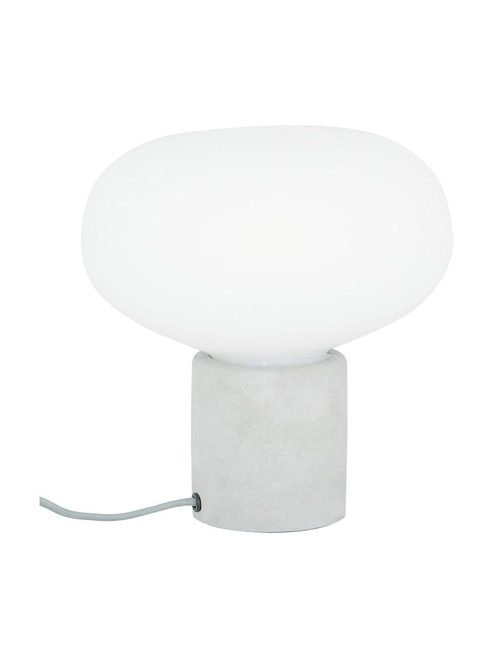 Kleine Nachttischlampe Alma mit Betonfuß, Lampenfuß: Beton, Lampenschirm: Glas, Lampenfuß: Grauer BetonLampenschirm: Weiß, Ø 23 x H 24 cm