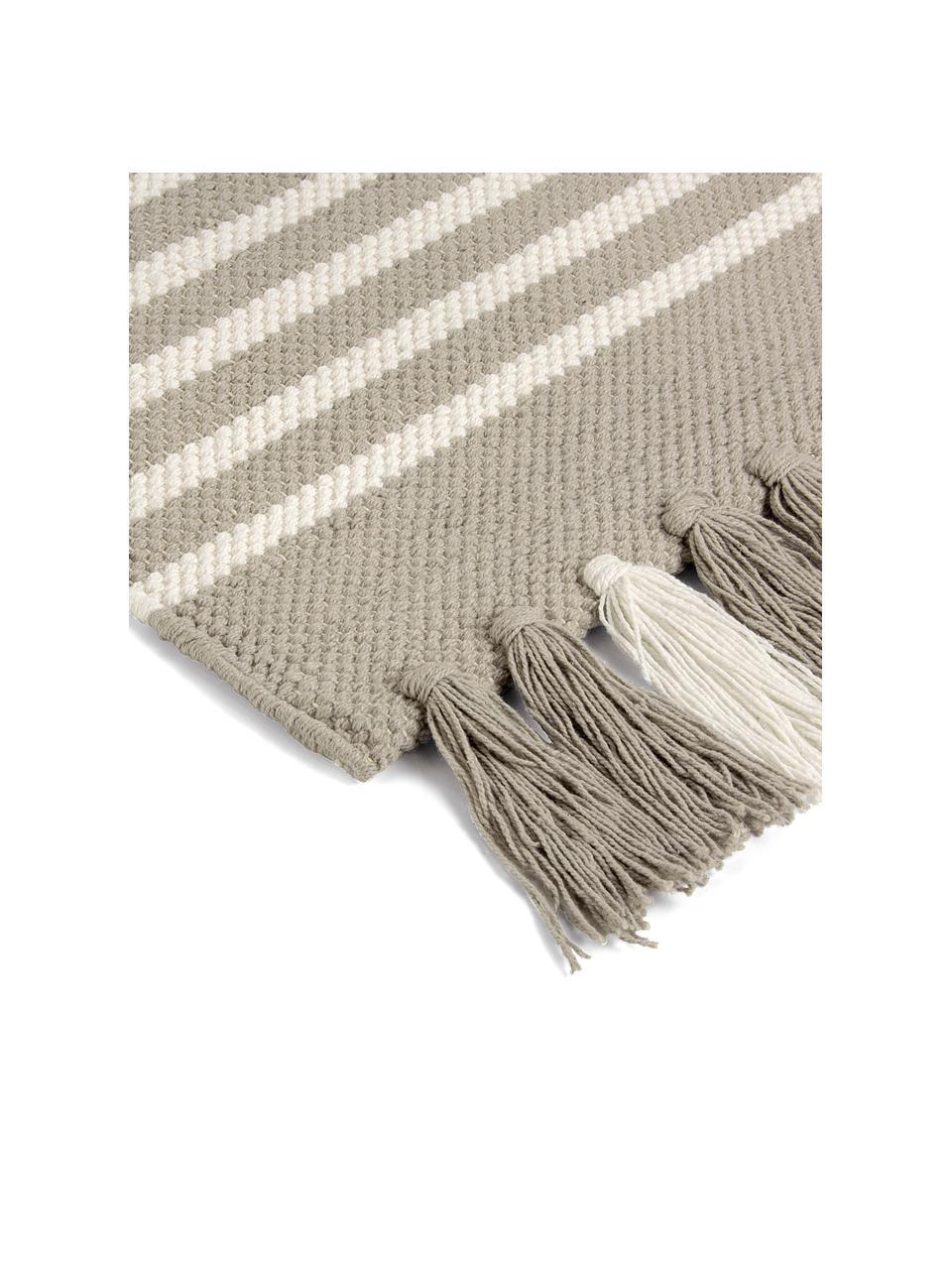 Dywanik łazienkowy z frędzlami Stripes & Structure, 100% bawełna, Beżowy, złamana biel, S 60 x D 100 cm