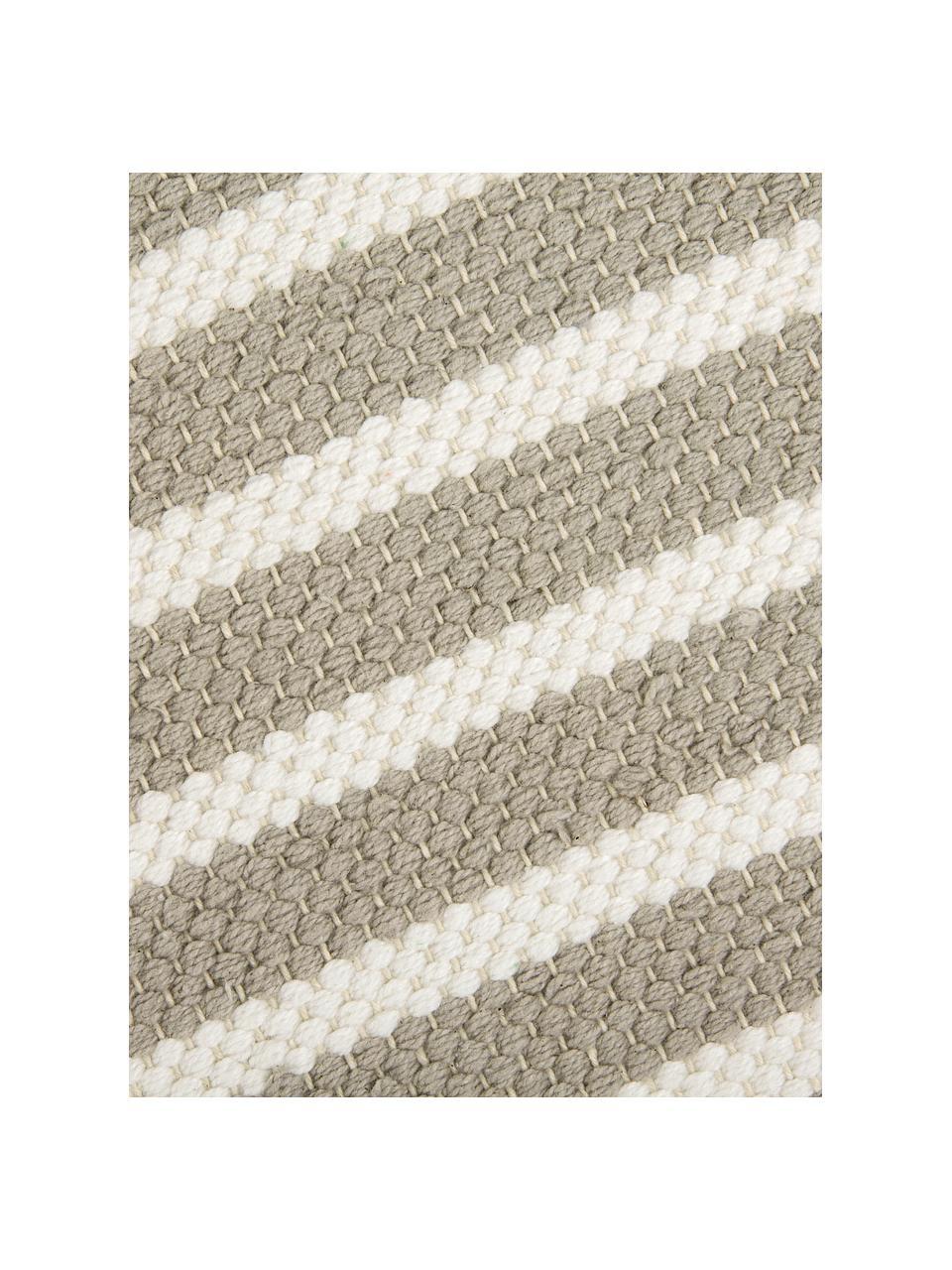 Gestreifter Badvorleger Stripes & Structure mit Fransenabschluss, 100% Baumwolle, Beige, gebrochenes Weiß, 60 x 100 cm