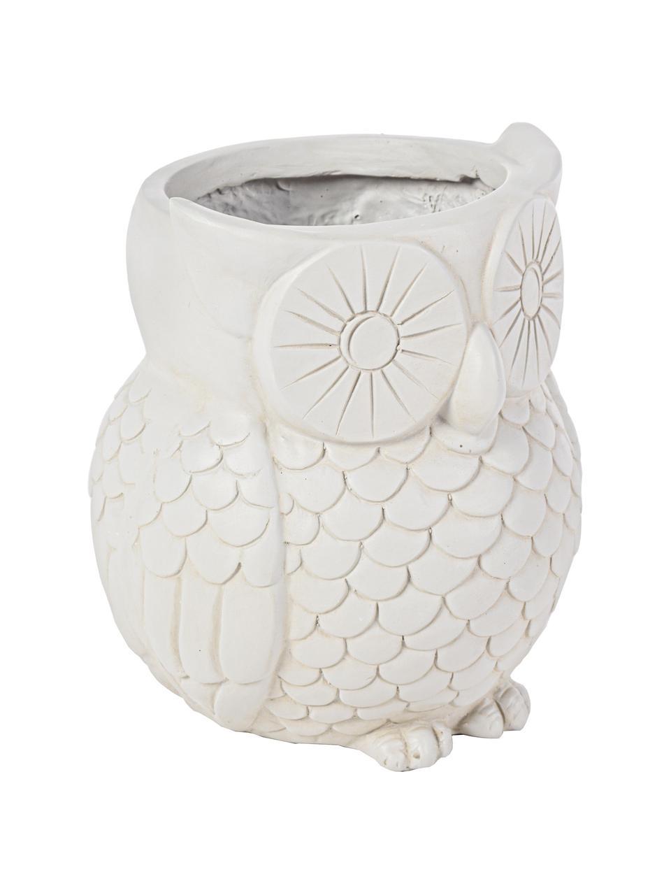 Großer Pflanztopf Owl, Kunststoff, Gebrochenes Weiß, Ø 35 x H 31 cm