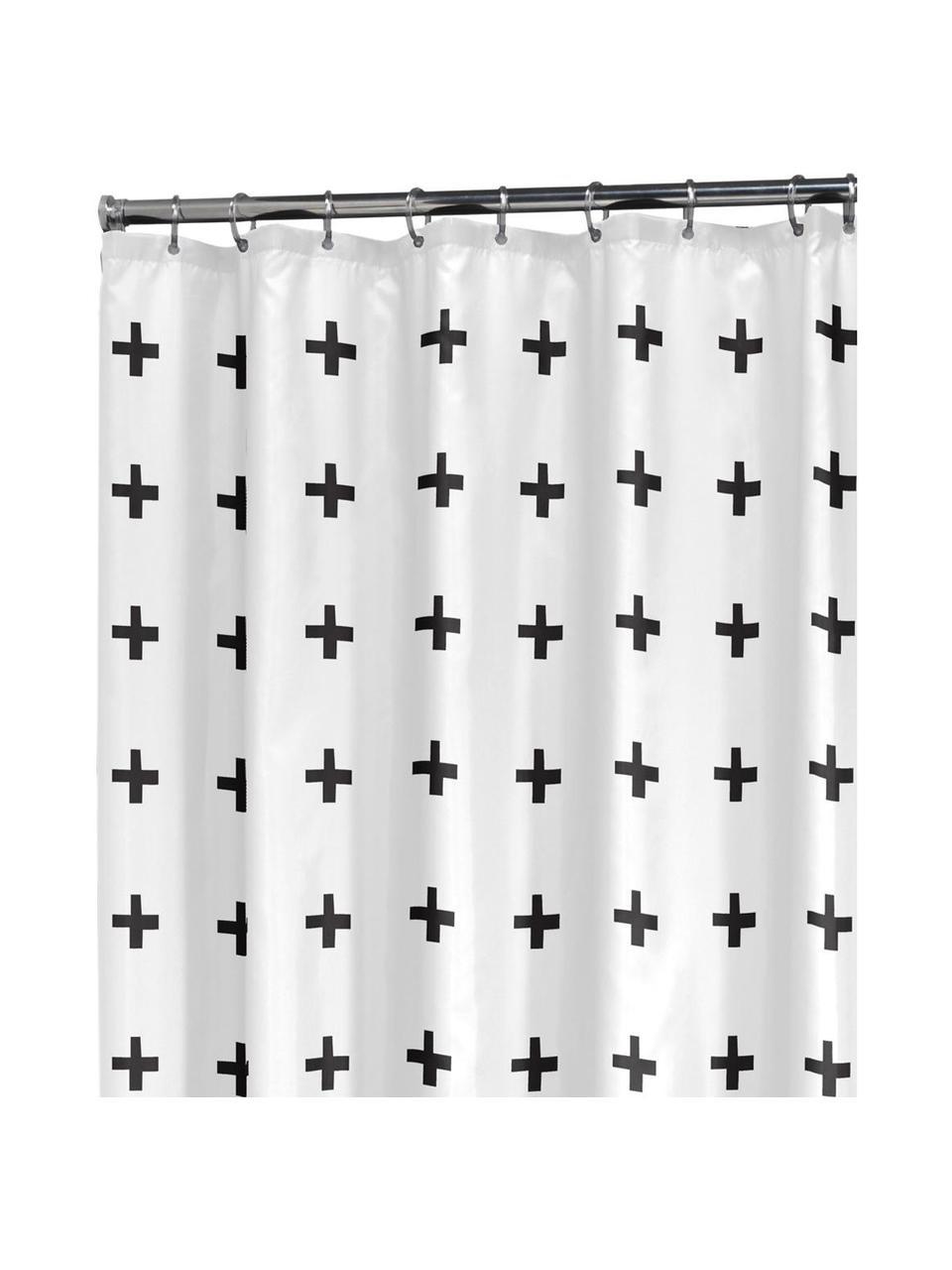 Rideau de douche blanc à imprimé Kenzie, Blanc, noir