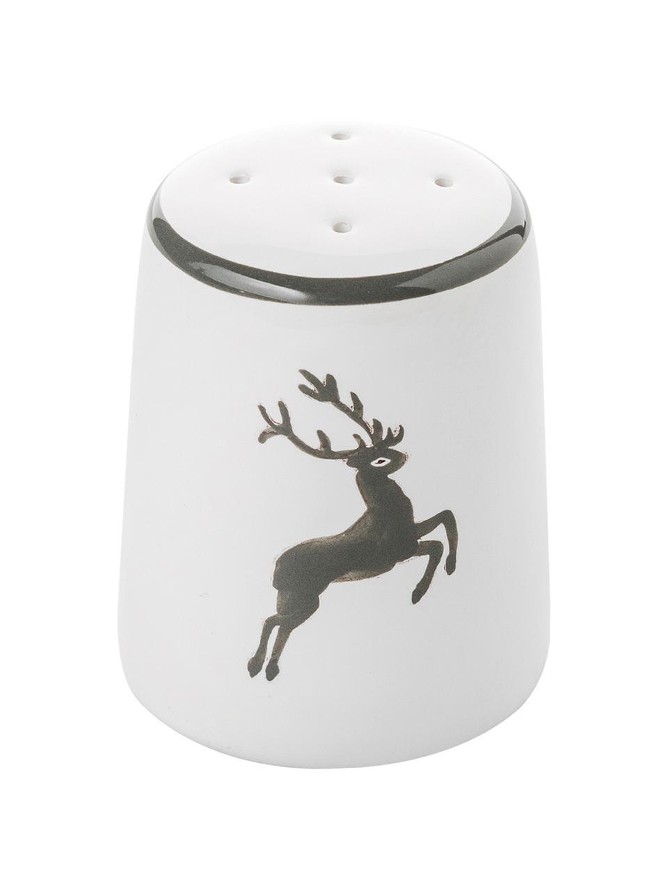 Handgemaakte zoutstrooier Classic Grey Deer, Keramiek, Grijs, wit, H 4 cm