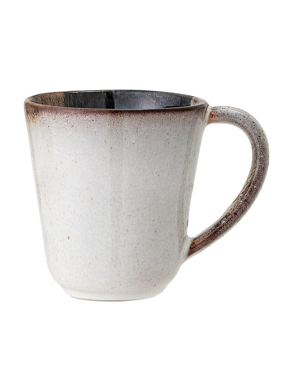 Handgemachte Tassen Jules aus Steingut mit Farbverlauf, 2 Stück, Steingut, Beige- und Brauntöne, Schwarz, Ø 10 x H 10 cm