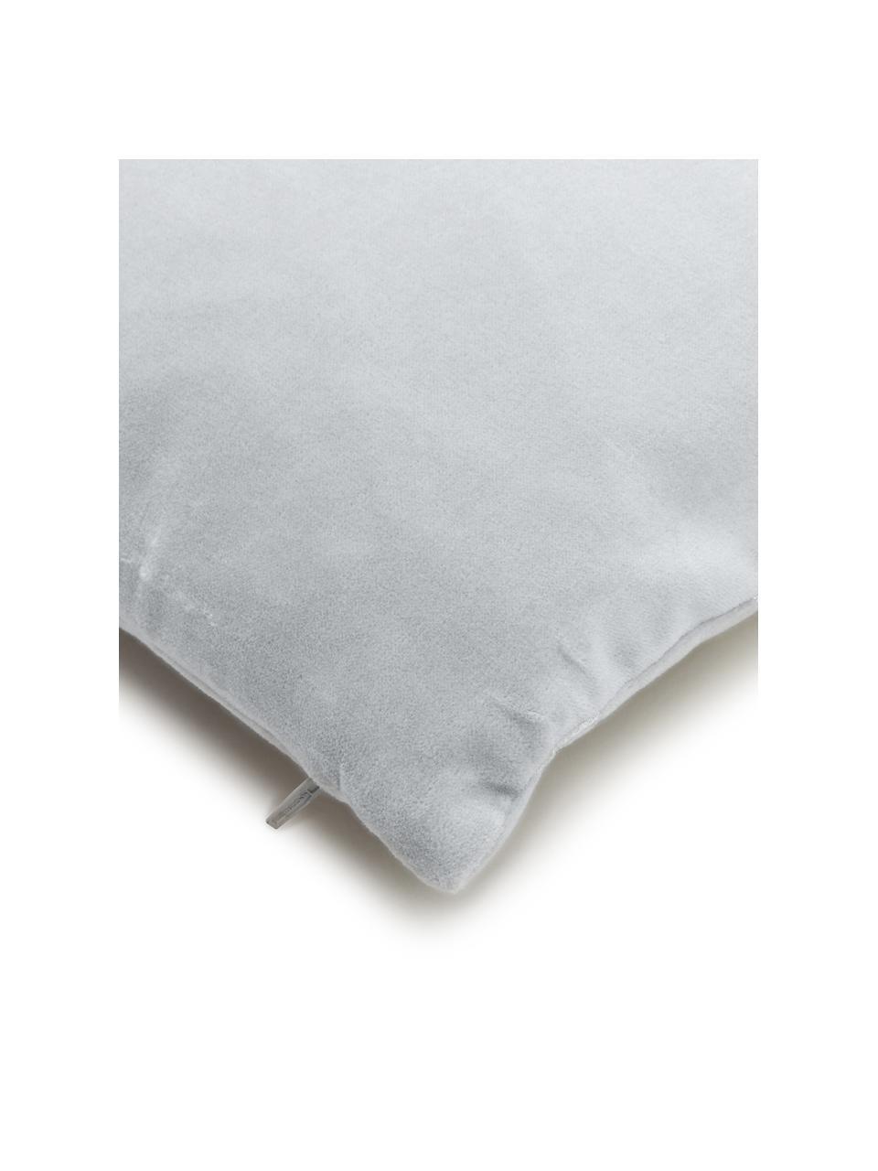 Samt-Kissenhülle Shiny mit schimmerndem Vintage Muster, 100% Baumwollsamt, Hellgrau, Silberfarben, 40 x 40 cm