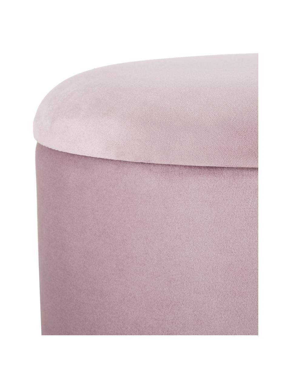 Puf z aksamitu z miejscem do przechowywania Polina, Tapicerka: aksamit poliestrowy Dzięk, Stelaż: metal lakierowany, Blady różowy, odcienie mosiądzu, Ø 35 x W 45 cm