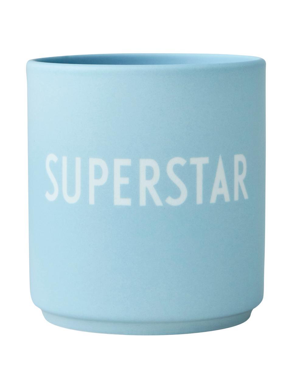Design Becher Favourite SUPERSTAR in Blau mit Schriftzug, Fine Bone China (Porzellan) Fine Bone China ist ein Weichporzellan, das sich besonders durch seinen strahlenden, durchscheinenden Glanz auszeichnet., Hellblau, Weiß, Ø 8 x 9 cm