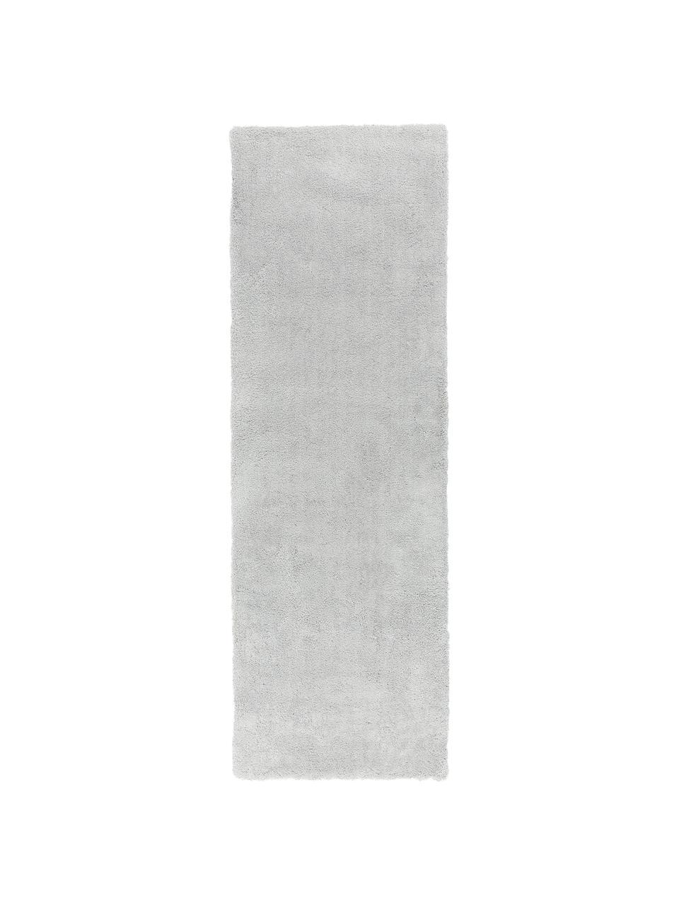 Flauschiger Hochflor-Läufer Leighton in Hellgrau, Flor: 100% Polyester (Mikrofase, Hellgrau, 80 x 250 cm