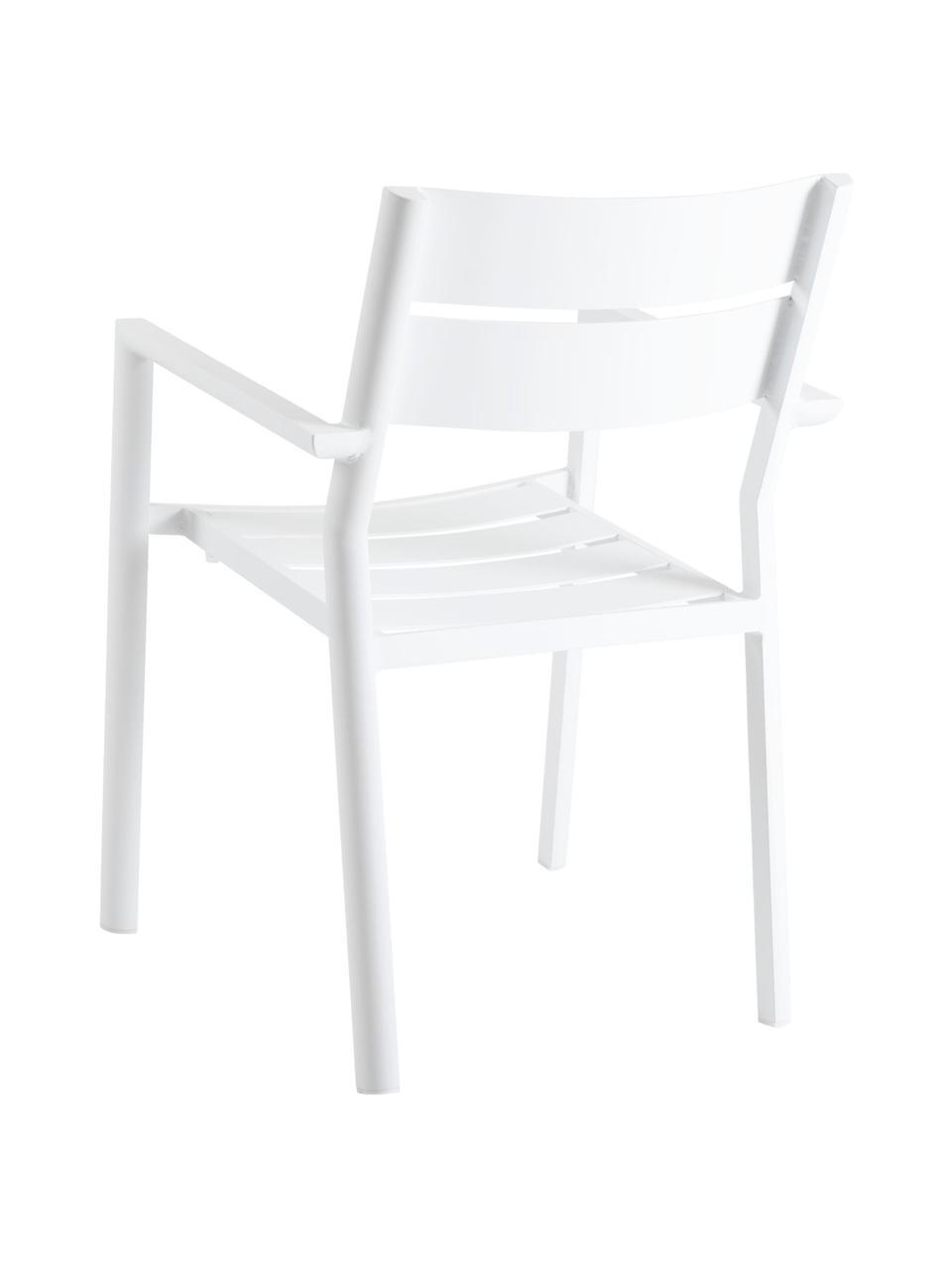 Stapelbarer Gartenstuhl Delia in Weiß, Aluminium, pulverbeschichtet, Weiß, B 55 x T 55 cm