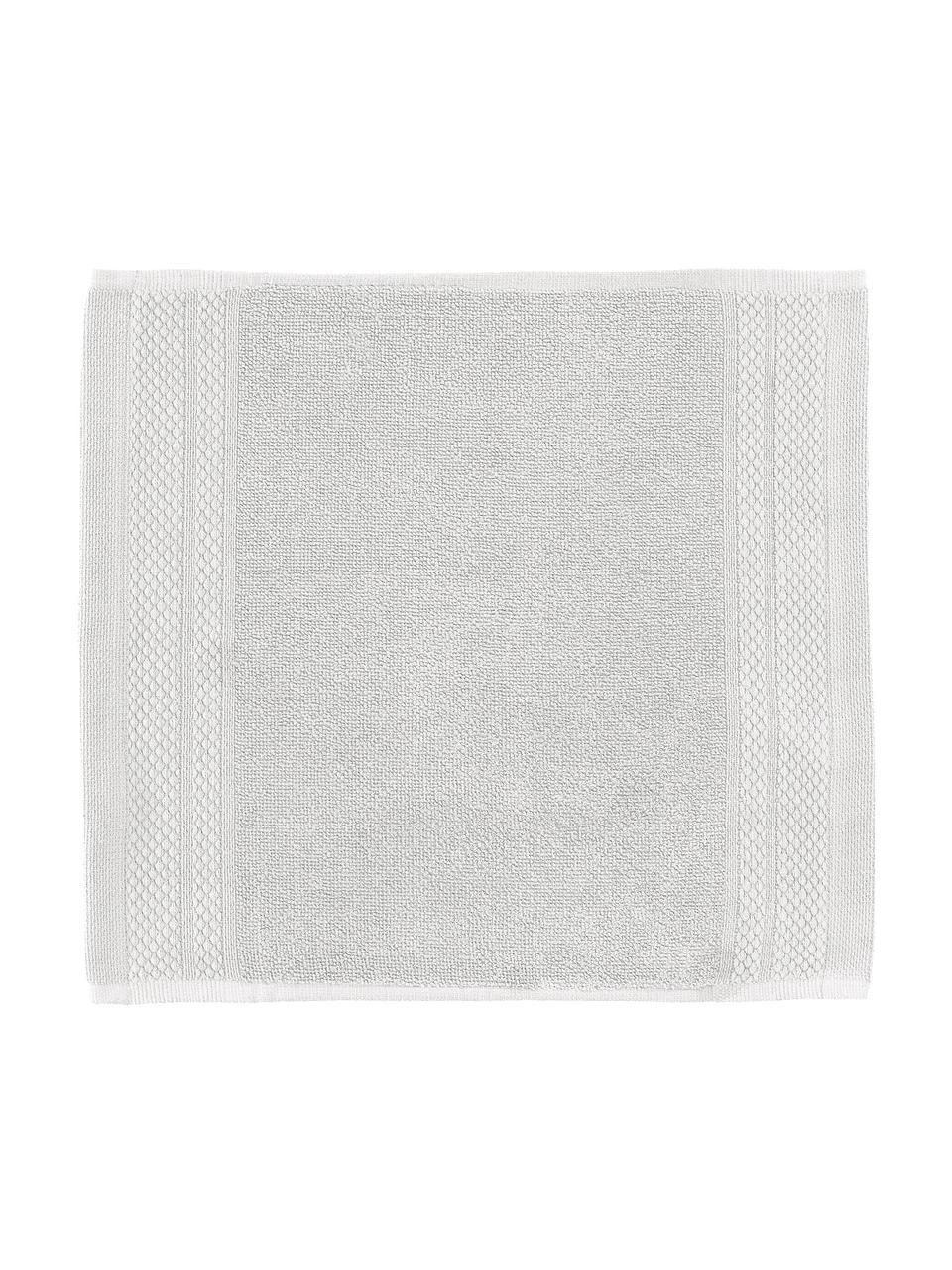 Asciugamano in varie dimensioni con bordo decorativo classico Premium, Grigio chiaro, Larg. 30 x Lung. 30 cm