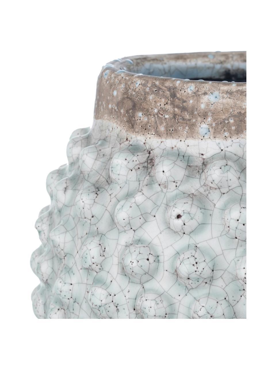 Osłonka na doniczkę Magna, Ceramika glazurowana, Brązowy, niebieski, Ø 20 x W 19 cm