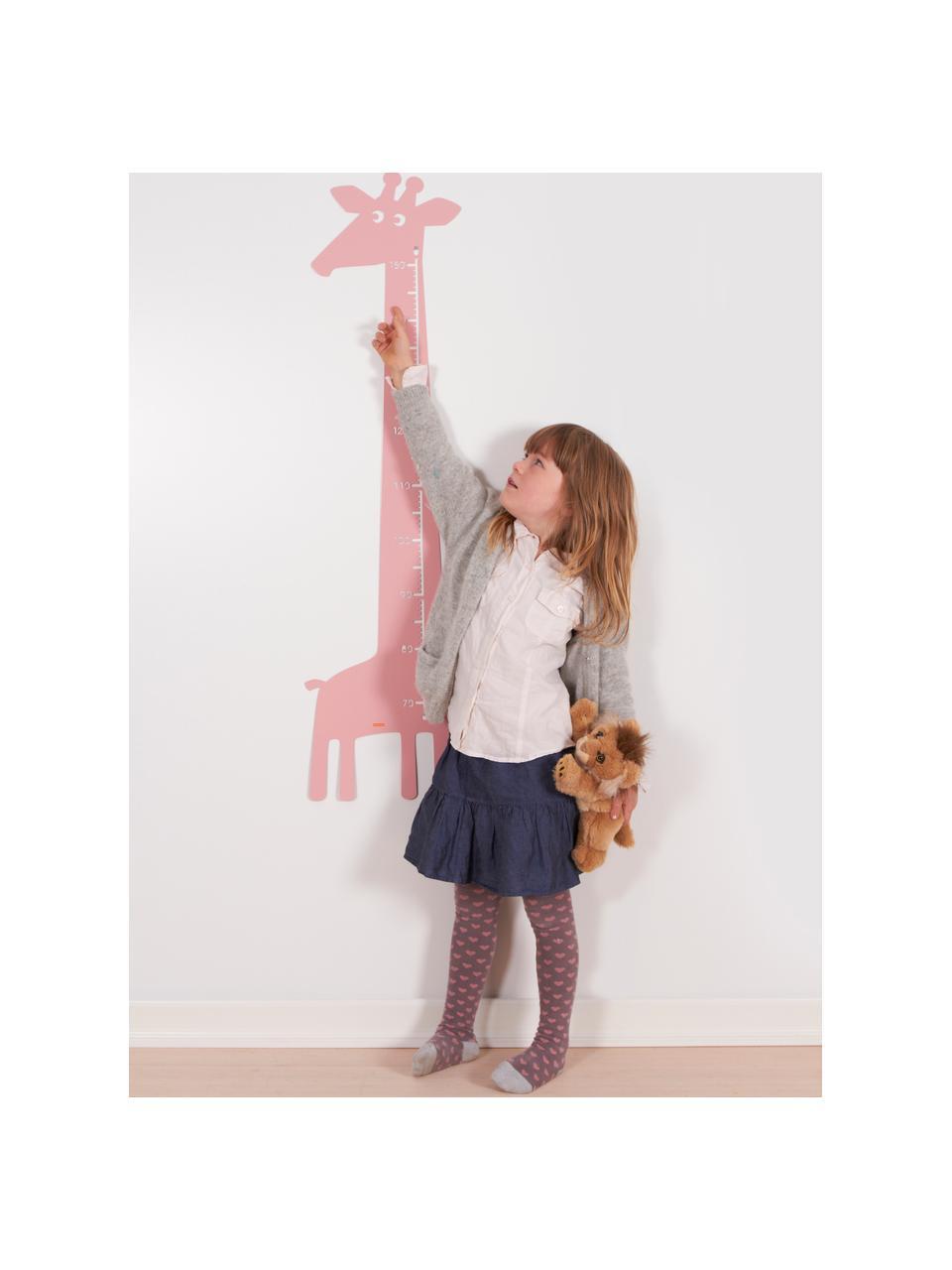 Groeimeter Giraffe, Gepoedercoat metaal, Roze, 28 x 115 cm