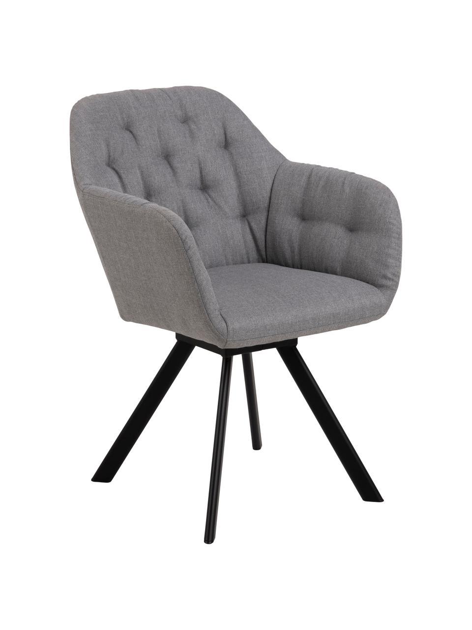 Sedia con braccioli girevole in tessuto grigio chiaro Lucie, Rivestimento: poliestere, Gambe: metallo verniciato, Tessuto grigio chiaro, nero, Larg. 58 x Prof. 62 cm