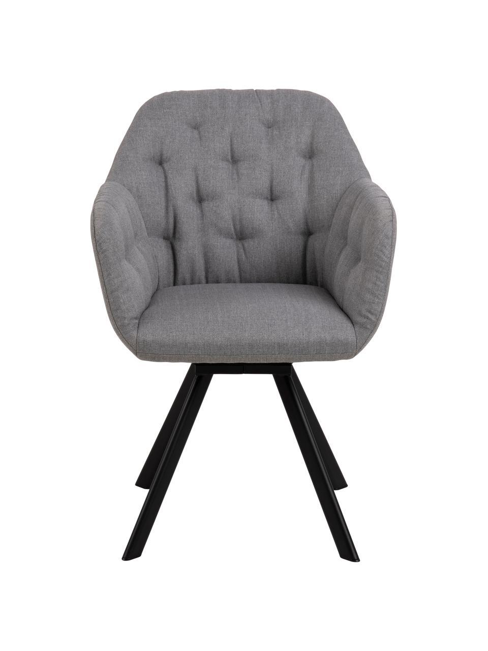 Drehbarer Armlehnstuhl Lucie, Bezug: Polyester, Beine: Metall, lackiert, Webstoff Hellgrau, B 58 x T 62 cm