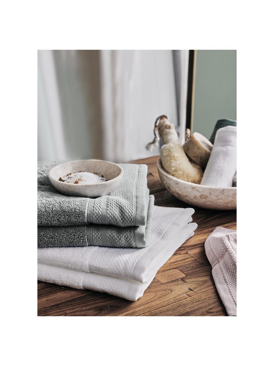 Set 3 asciugamani con bordo decorativo Premium, Grigio scuro, Set in varie misure