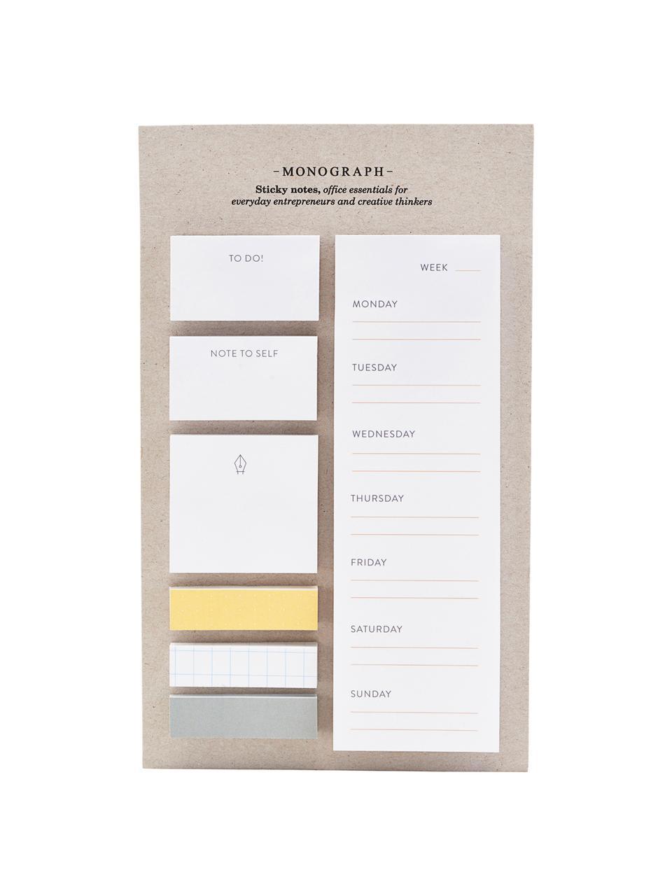 Set blocco note adesivi Toffi 7 pz, Carta, Bianco, giallo, grigio, Larg. 12 x Alt. 22 cm