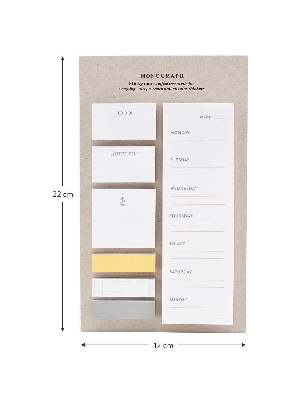Haftnotiz-Block-Set Toffi, 7-tlg., Papier, Weiß, Gelb, Grau, 12 x 22 cm