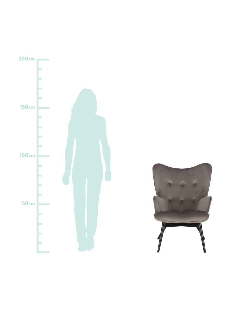 Samt-Ohrensessel Vicky in Grau, Bezug: Polyestersamt 45.000 Sche, Füße: Buchenholz, massiv und kl, Samt Grau, B 59 x T 63 cm