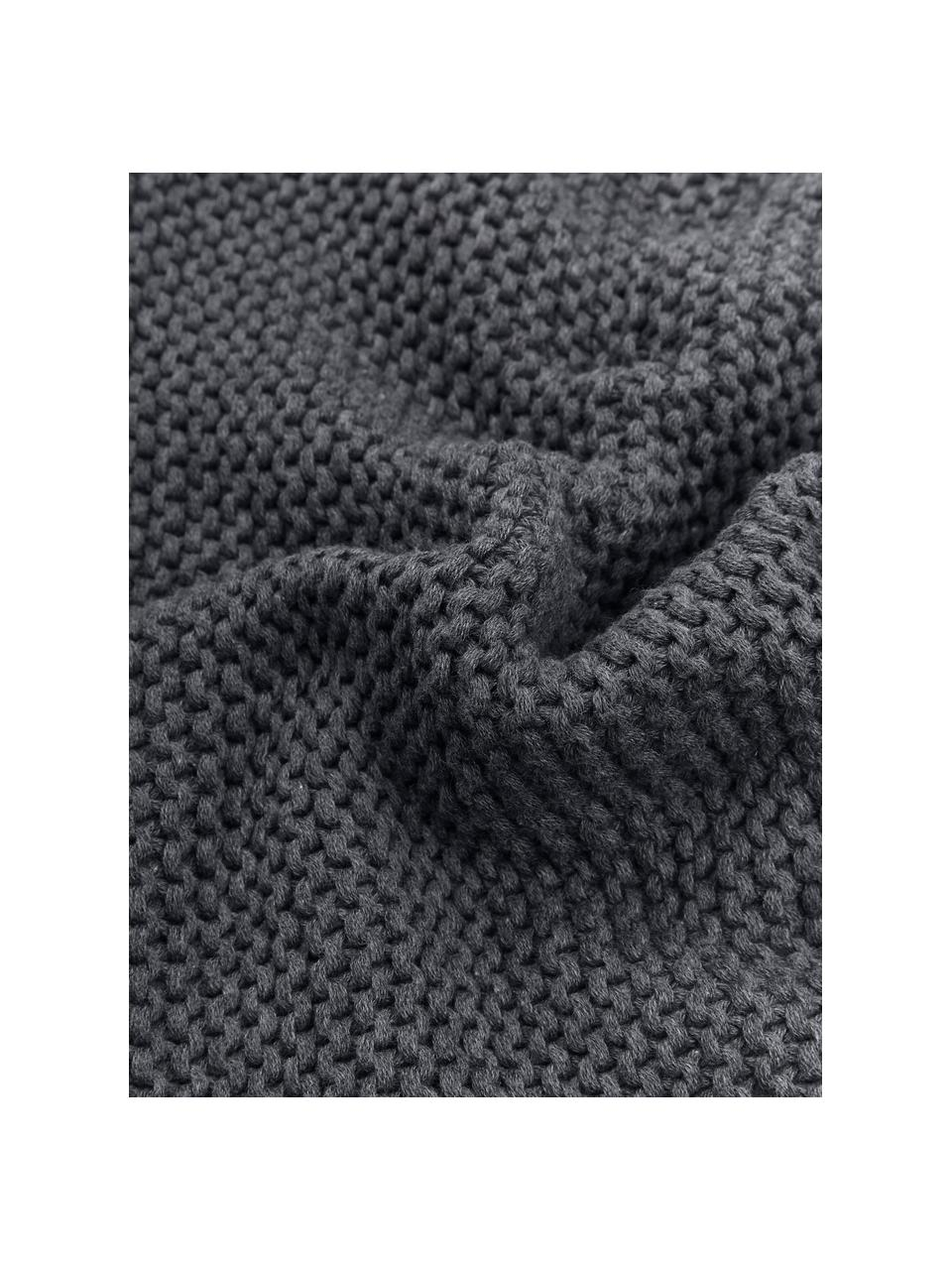 Strickdecke Adalyn aus Bio-Baumwolle in Dunkelgrau, 100% Bio-Baumwolle, GOTS-zertifiziert, Dunkelgrau, 150 x 200 cm