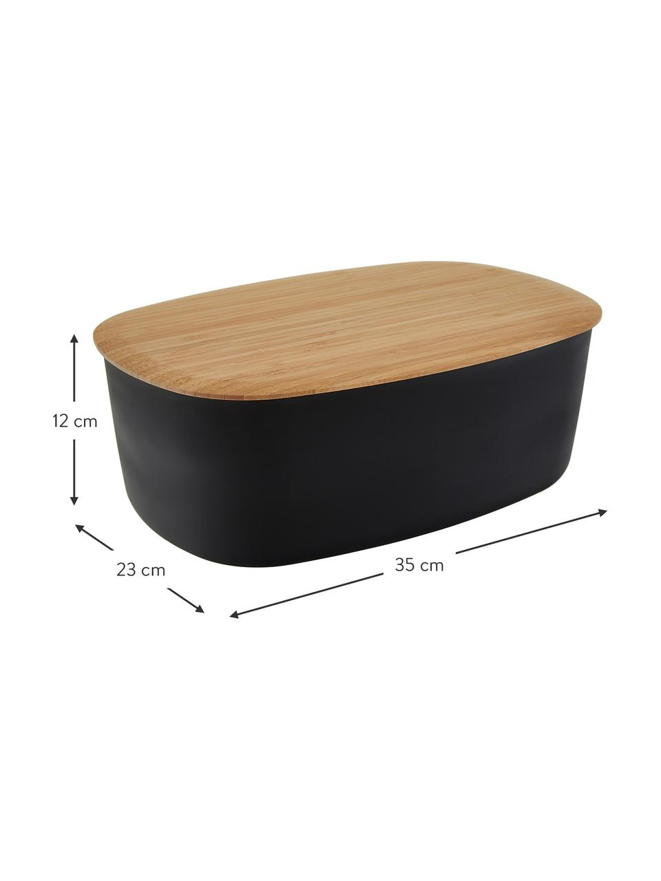 Designer Brotkasten Box-It in Schwarz mit Schneidebrett als Deckel, Deckel: Bambus, Dose: Schwarz Deckel: Braun, 35 x 12 cm