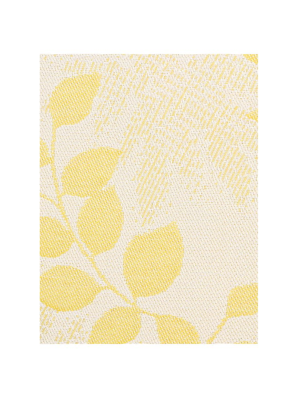 Outdoor-Kissenhülle Cruz mit Blattmuster in Gelb, 100% Dralon (Polyacryl), Gelb, Beige, 50 x 50 cm