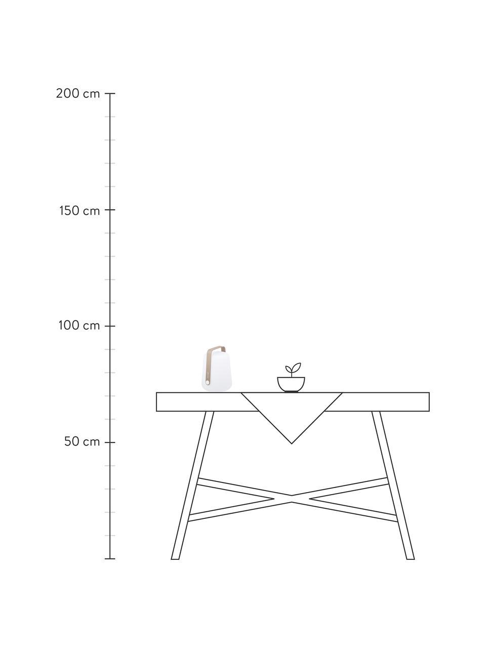 Mobile Dimmbare Außentischlampe Balad, Lampenschirm: Polyethen, für den Außenb, Griff: Aluminium, lackiert, Muskatbraun, Ø 19 x H 25 cm