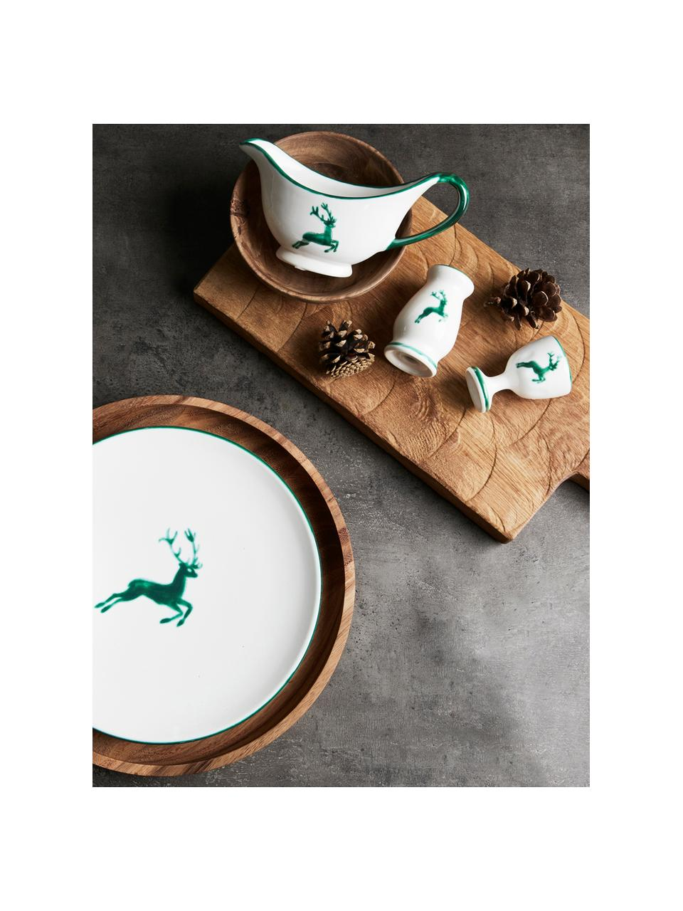 Ręcznie malowany kieliszek do jajek Grüner Hirsch, Ceramika, Zielony, biały, W 6 cm
