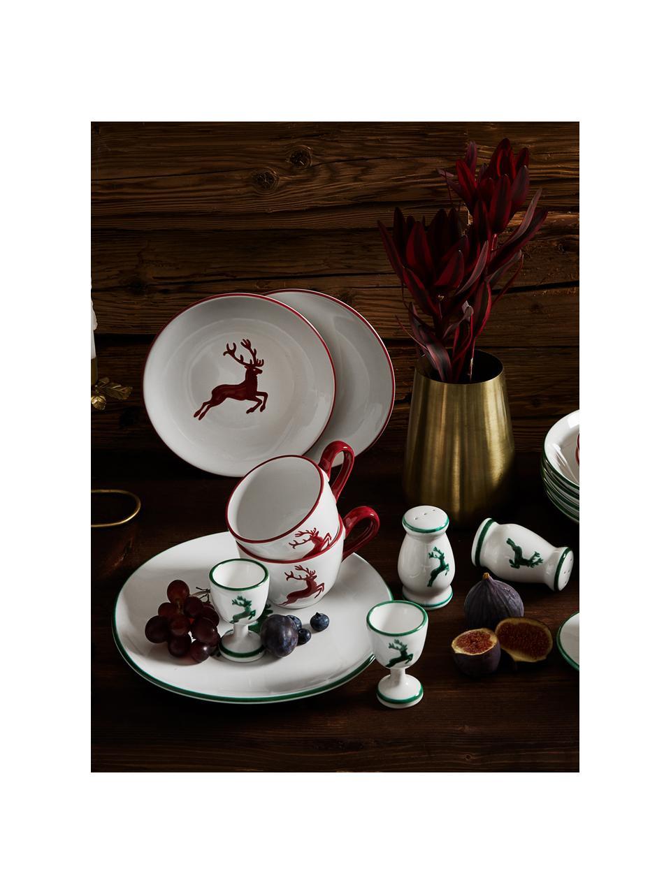 Portauovo dipinto a mano Grüner Hirsch, Ceramica, Verde, bianco, Alt. 6 cm