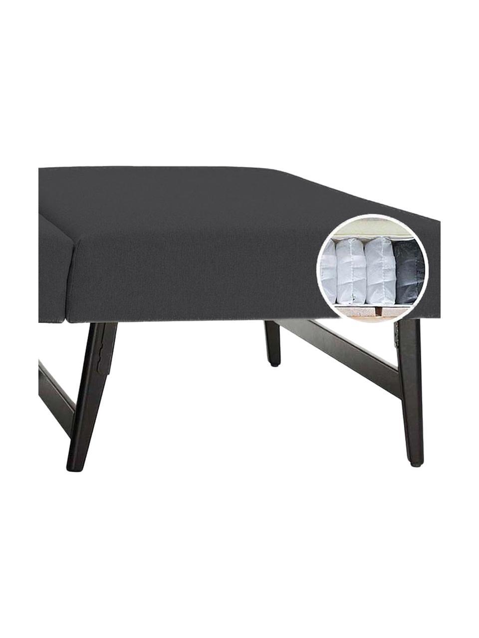 Schlafsofa Bruno (2-Sitzer) in Anthrazit, ausklappbar, Bezug: Pflegeleichtes robustes P, Rahmen: Massivholz, Webstoff Anthrazit, B 180 x T 84 cm