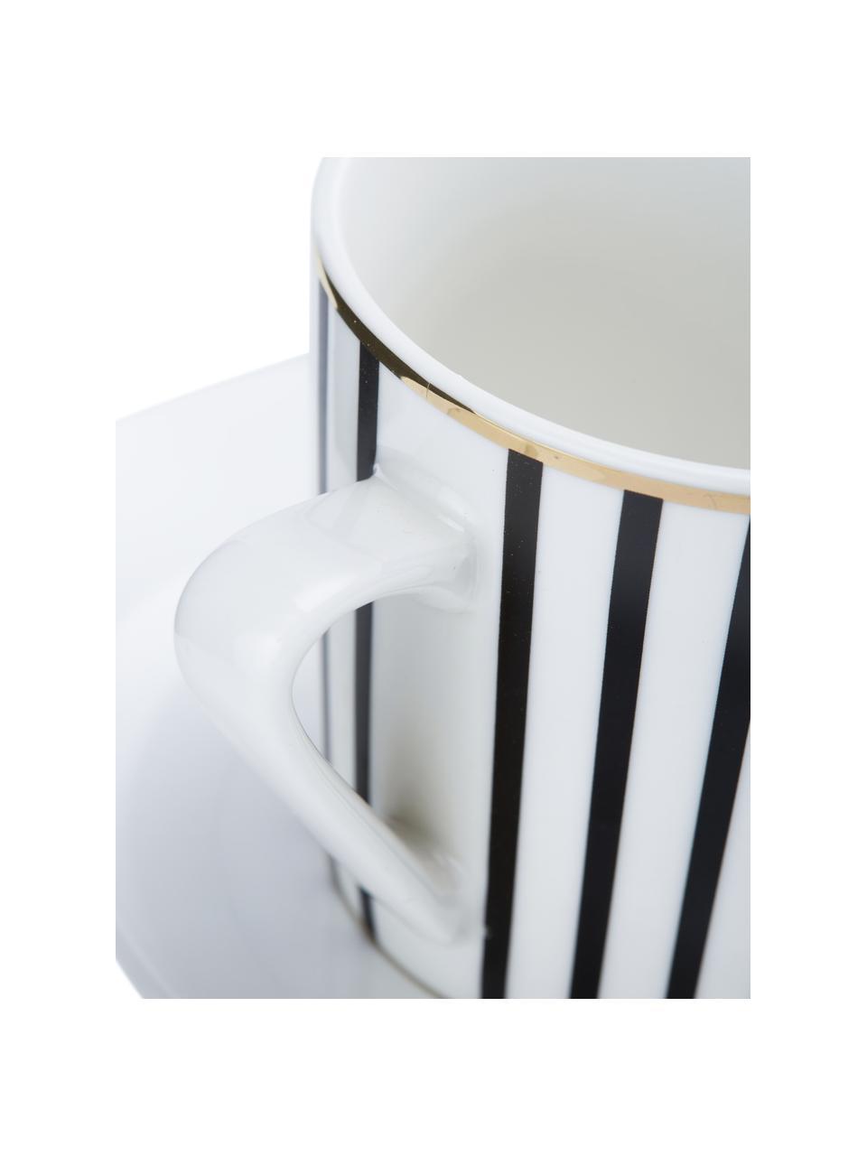 Kaffeetassen mit Untertassen Pluto Loft mit Streifendekor und Goldrand, 4 Stück, Porzellan, Schwarz, Weiß, Goldfarben, Ø 8 x H 8 cm