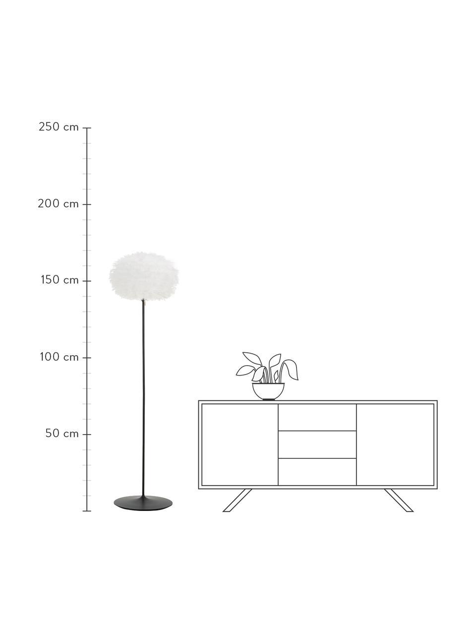 Große Stehlampe Eos aus Federn, Lampenschirm: Gänsefedern, Gestell: Aluminium, pulverbeschich, Lampenfuß: Stahl, pulverbeschichtet, Weiß, Schwarz, Ø 45 x H 170 cm