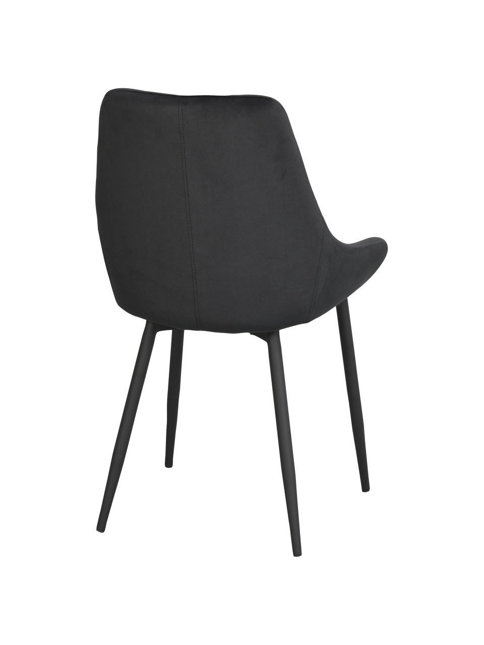 Krzesło tapicerowane z aksamitu Sierra, 2 szt., Tapicerka: 100% aksamit poliestrowy, Nogi: metal lakierowany, Czarny, S 49 x G 55 cm