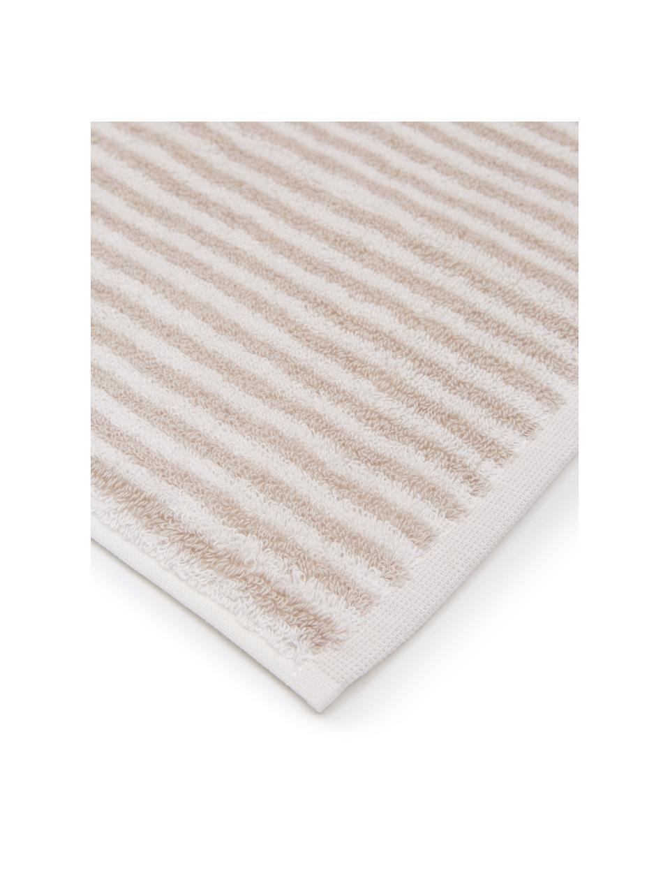 Gestreiftes Handtuch Viola, 100% Baumwolle, mittelschwere Qualität 550 g/m², Sandfarben, Cremeweiß, Gästehandtuch