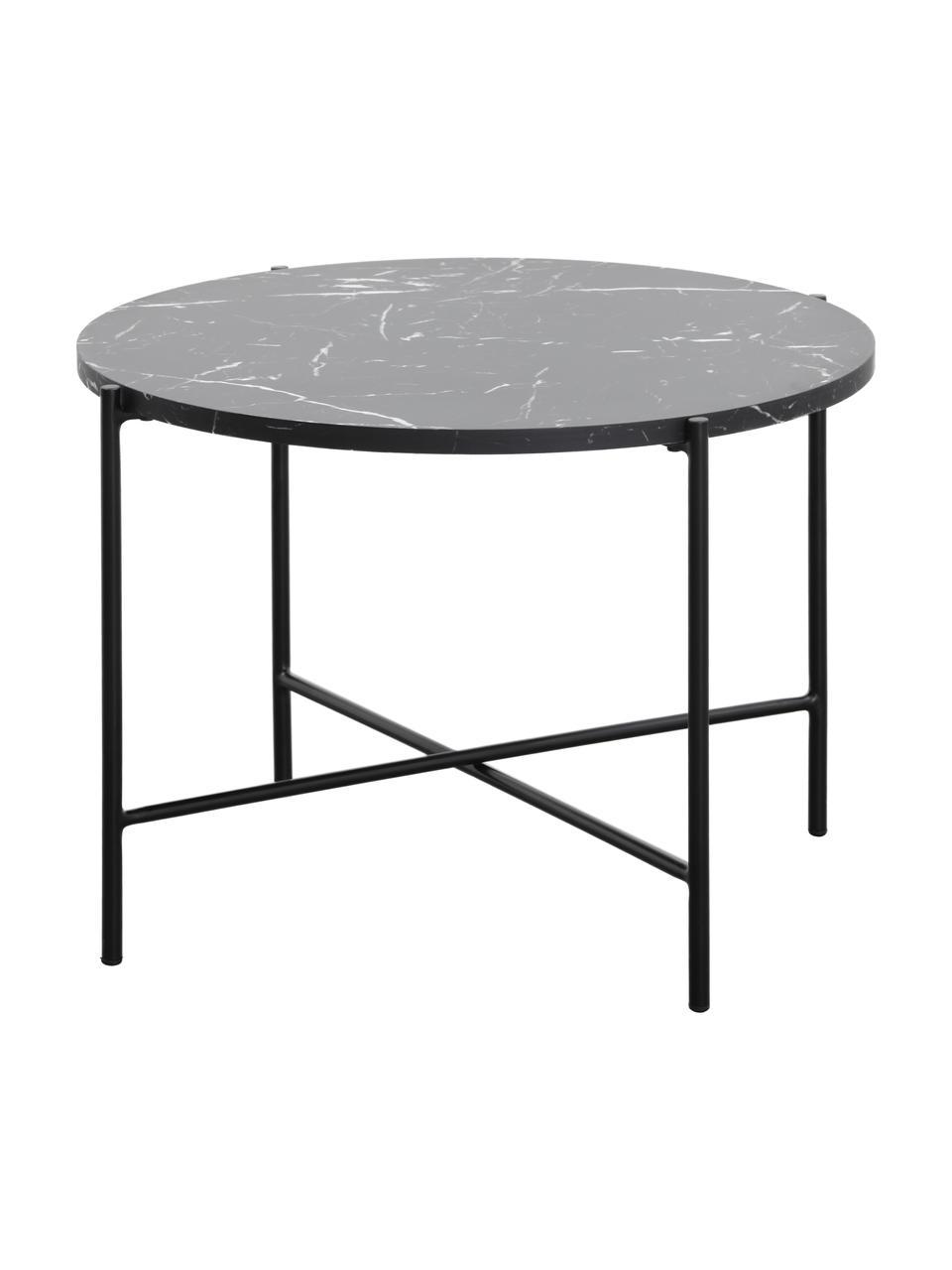 Stolik kawowy z imitacji marmuru Fria, Blat: płyta pilśniowa średniej , Stelaż: metal malowany proszkowo, Blat: czarny, marmurowy, matowy Stelaż: czarny, matowy, Ø 60 x W 43 cm