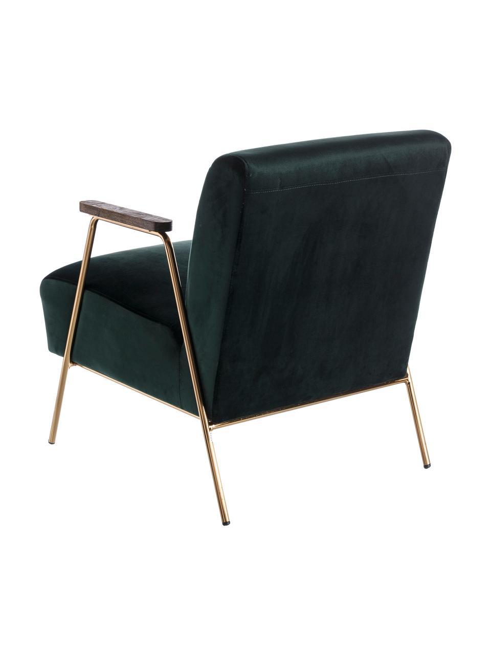 Fotel koktajlowy z aksamitu Bettina, Tapicerka: 100% aksamit poliestrowy,, Nogi: metal, Ciemnyzielony, S 76 x G 60 cm