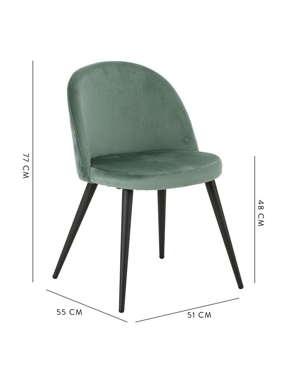 Sedia imbottita in velluto Amy 2 pz, Rivestimento: velluto (poliestere) Con , Gambe: metallo verniciato a polv, Turchese, Larg. 51 x Prof. 55 cm