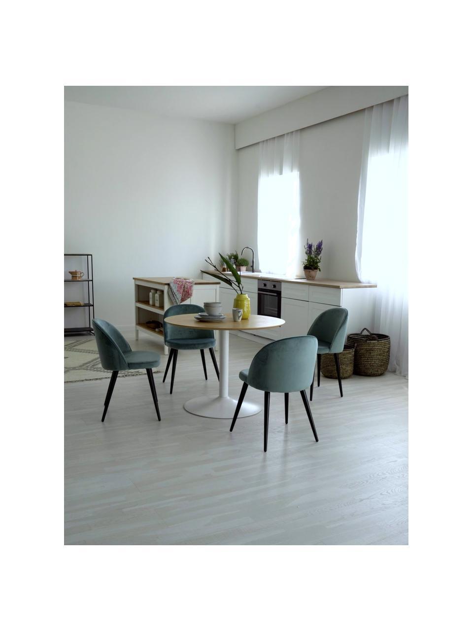 Chaise moderne en velours Amy, 2pièces, Turquoise