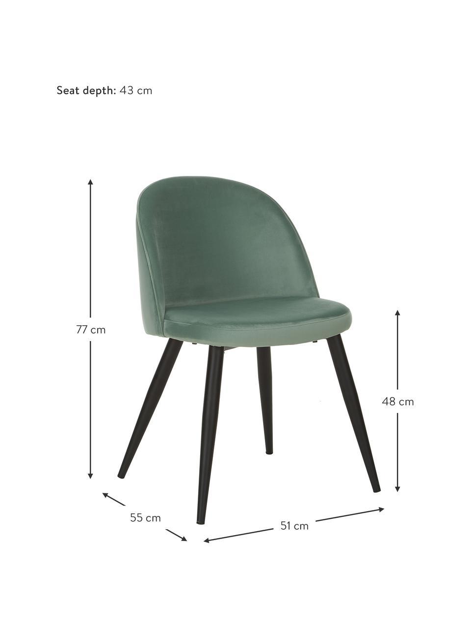 Moderne fluwelen stoelen Amy, 2 stuks, Bekleding: fluweel (polyester), Poten: gepoedercoat metaal, Turquoise, B 51 x D 55 cm