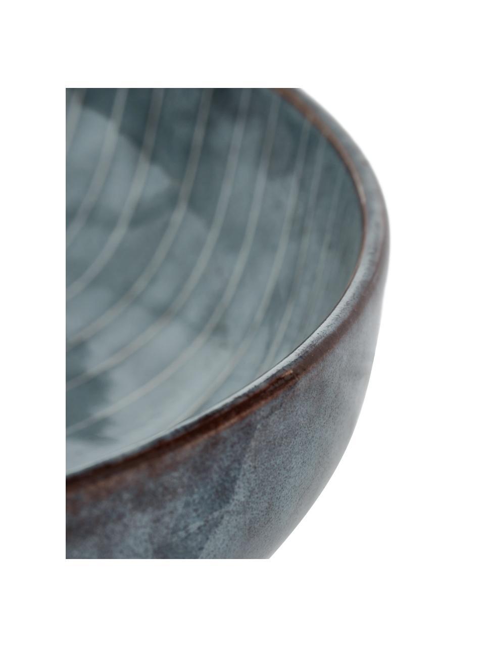 Handgemaakte schalen Nordic Sea Ø 22 cm van keramiek, 4 stuks, Keramiek, Grijs- en blauwtinten, Ø 22 x H 5 cm
