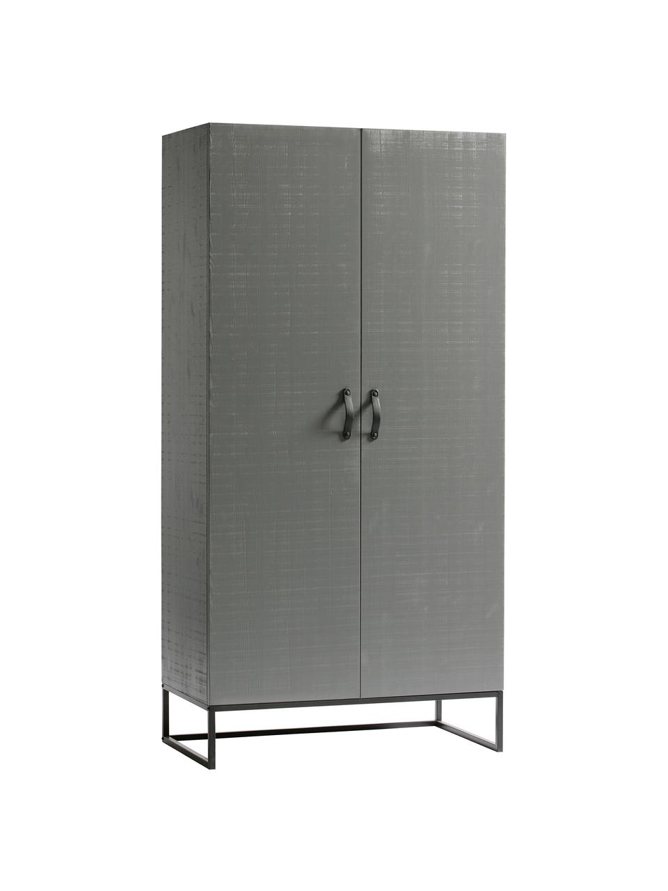 Kleiderschrank Morris in Grau, Korpus: Kiefernholz, massiv, lack, Rahmen: Metall, lackiert, Griffe: Leder, Einlegeböden: Melamin, Grau, 100 x 195 cm