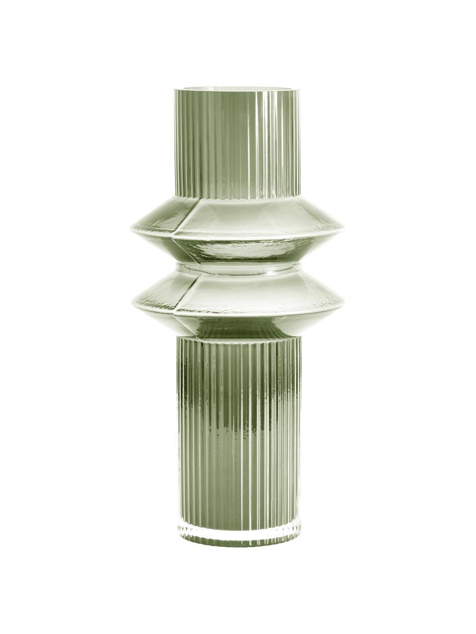 Vaso di design moderno in vetro verde Rilla, Vetro, Verde, Ø 9 x Alt. 32 cm