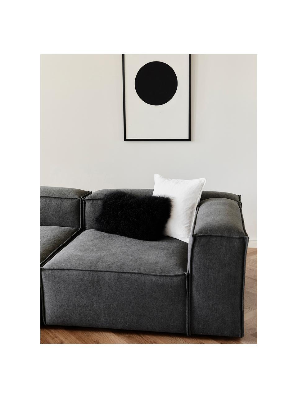 Modulaire chaise longue Lennon in antraciet, Bekleding: polyester De hoogwaardige, Frame: massief grenenhout, multi, Poten: kunststof De poten bevind, Geweven stof antraciet, B 269 x D 119 cm