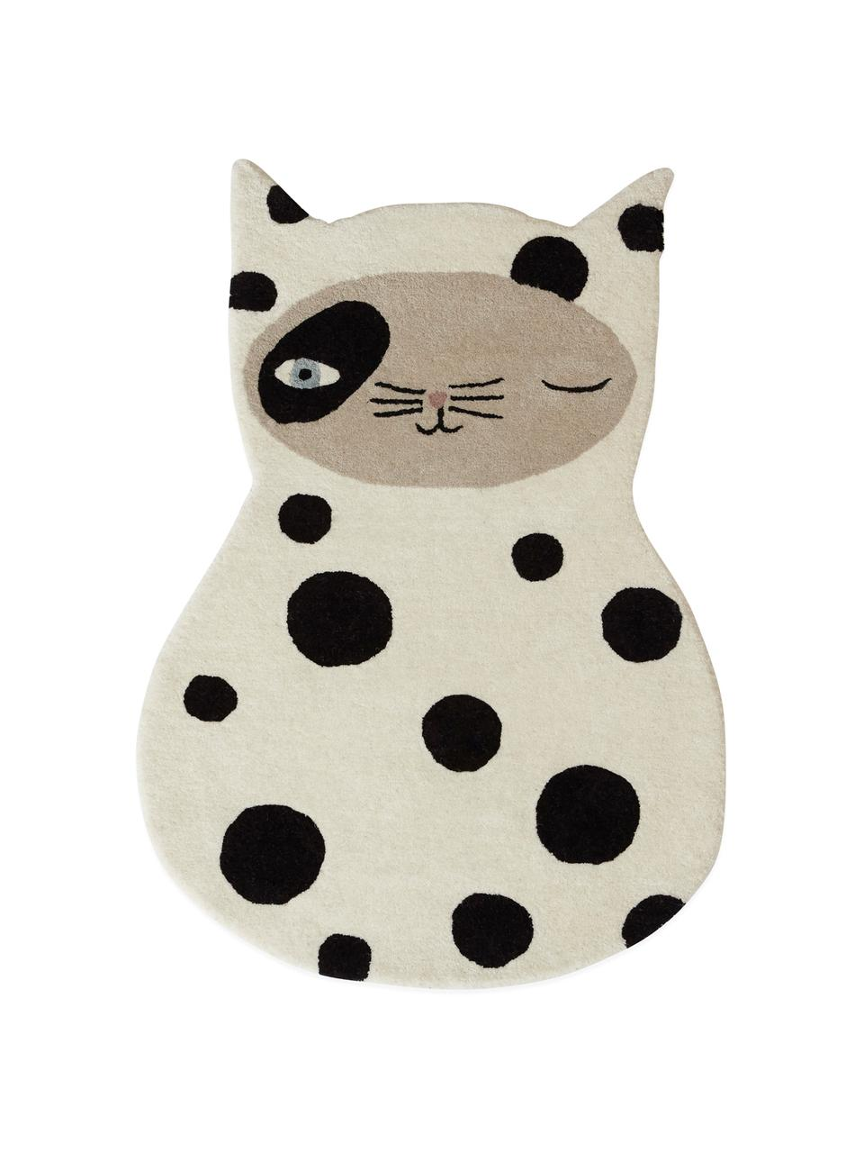 Vlněný koberec Zorro Cat, Světle bílá, černá, béžová, modrá