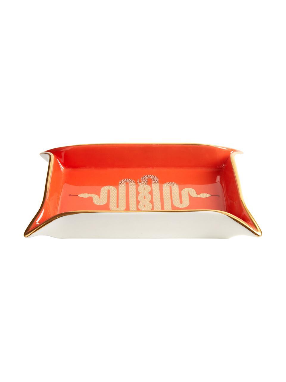 Miska z porcelany Snake, Porcelana, pozłacane akcenty, Wewnątrz: pomarańczowy, złoty Na zewnątrz: biały, 18 x 13 cm