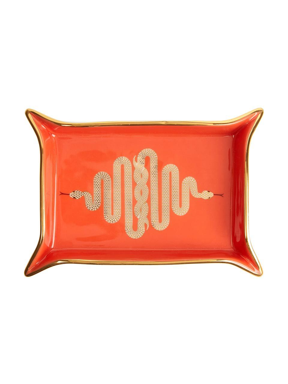 Schaal Snake, Porselein, vergulde accenten, Binnenkant: oranje, goud Buitenkant: wit, 13 x 18 cm