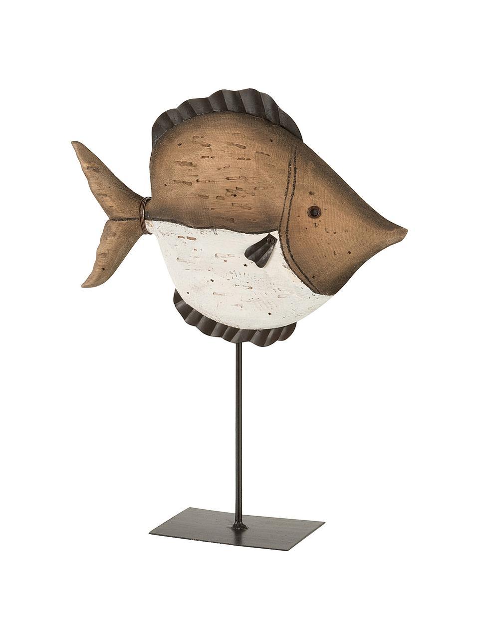 Deko-Objekt Fish, Holz, Braun, Beige, Schwarz, 25 x 33 cm