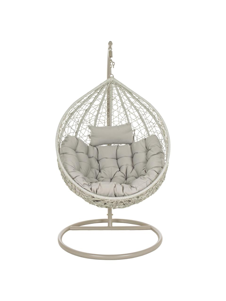 Fotel wiszący z wikliny z metalową ramą Amirantes, Tapicerka: poliester, Szary, Ø 105 x W 198 cm