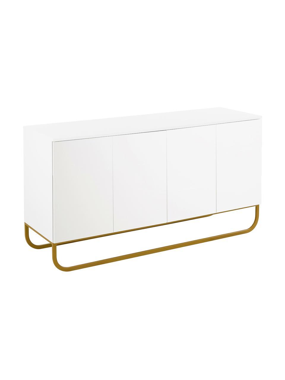 Klassiek dressoir Sanford in wit met deuren, Frame: gelakt MDF, Poten: gepoedercoat metaal, Wit, goudkleurig, 160 x 83 cm
